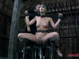 Blindfolded and gagged beauty gets her cunt shovelled with toy